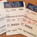 Airline ticket stubs.
