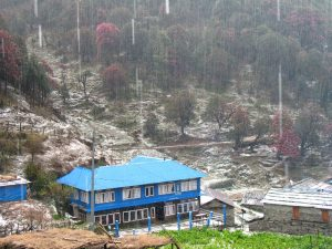 Other guesthouses during the downpour at Ghorepani.